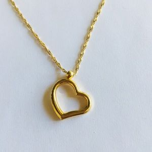 Jewelry - 14k Solid Gold Open Heart Pendant w Turkish Chain